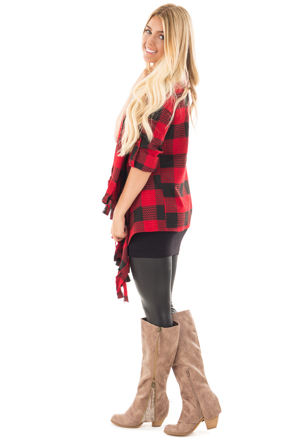 Red and Black Checker Plaid Print Open Drape Cardigan side full body