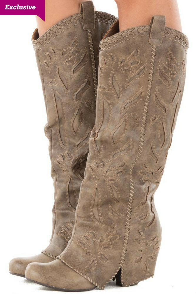 Taupe Overlay Tall Boot with Cut Out and Stitched Details