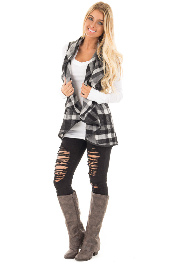 Black and White Plaid Vest with Faux Leather Trim front full body