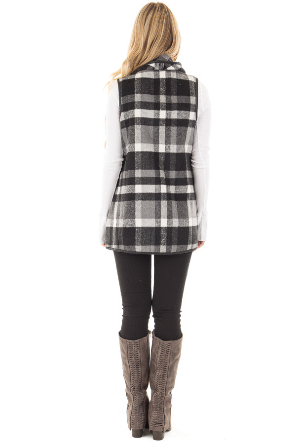Black and White Plaid Vest with Faux Leather Trim back full body