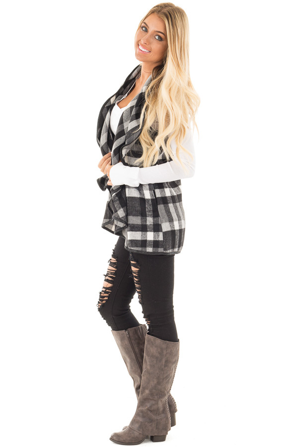 Black and White Plaid Vest with Faux Leather Trim side full body