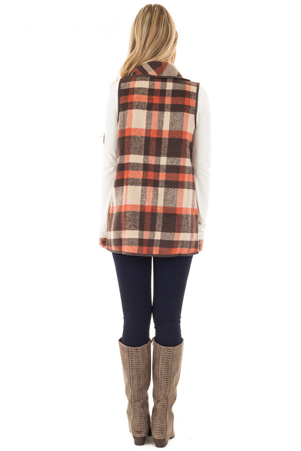 Brown Tan and Orange Plaid Vest with Faux Leather Trim back full body