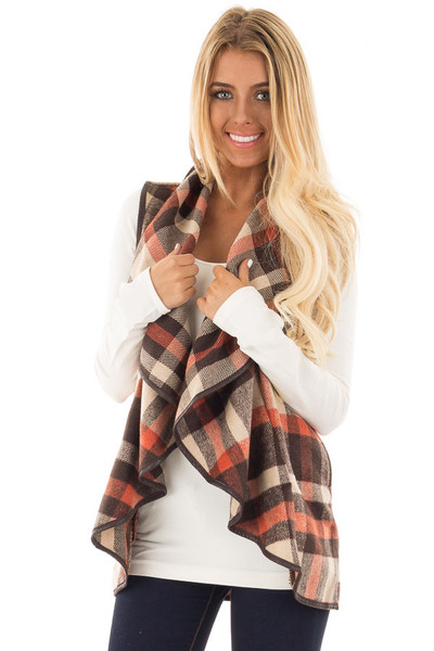 Brown Tan and Orange Plaid Vest with Faux Leather Trim front close up