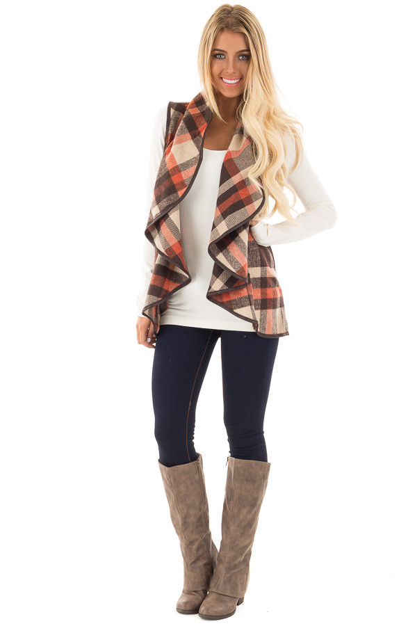 Brown Tan and Orange Plaid Vest with Faux Leather Trim front full body
