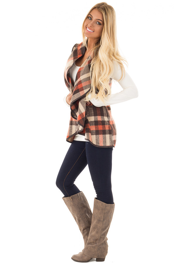 Brown Tan and Orange Plaid Vest with Faux Leather Trim side full body