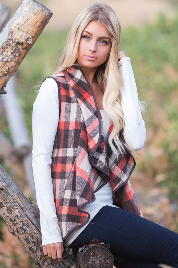 Brown Tan and Orange Plaid Vest with Faux Leather Trim side close up