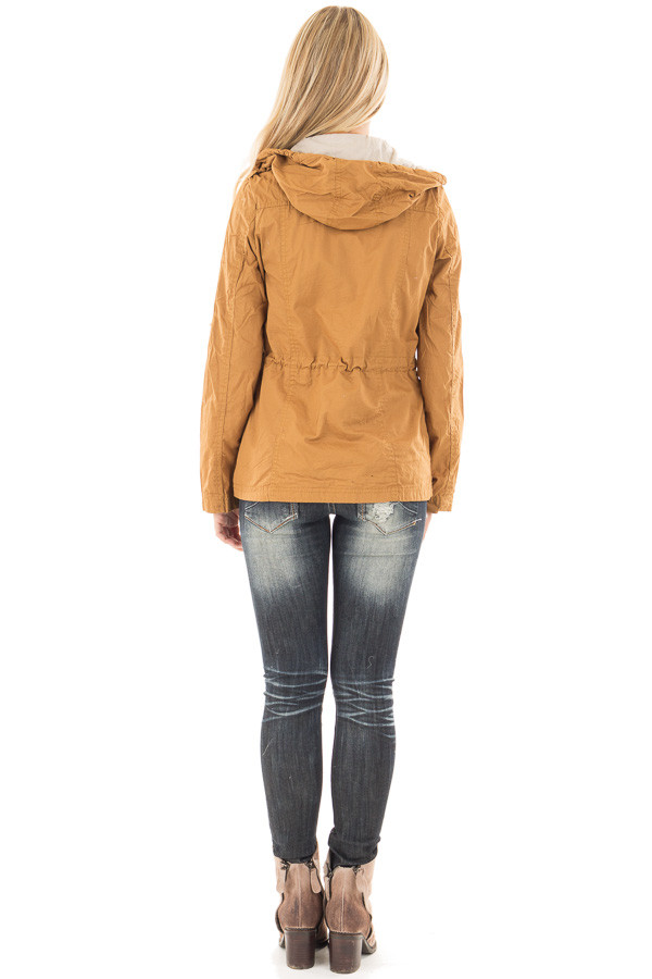 Camel Hooded Jacket with Zipper Detail and Front Pockets back full body