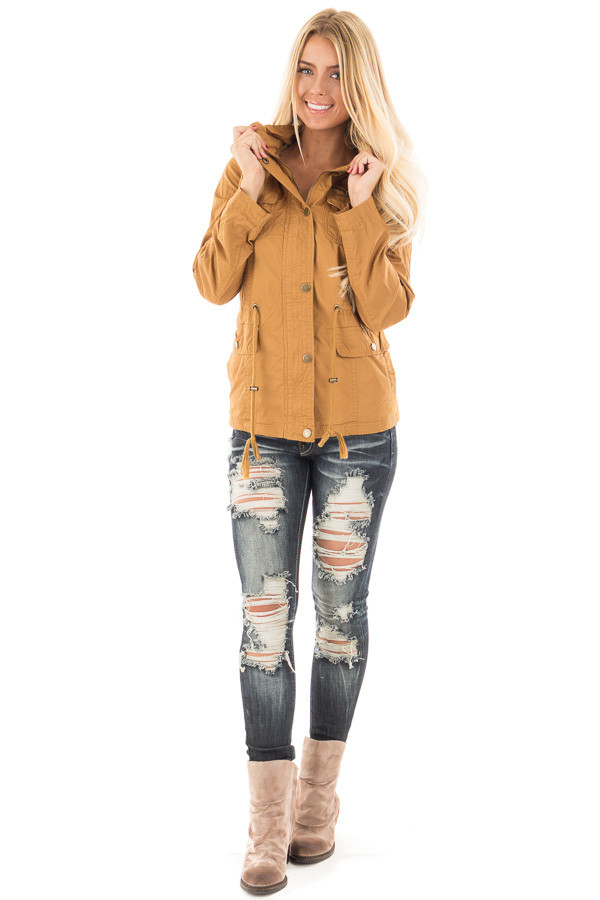 Camel Hooded Jacket with Zipper Detail and Front Pockets front full body