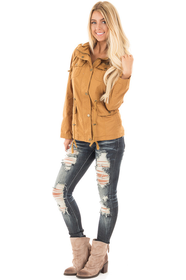 Camel Hooded Jacket with Zipper Detail and Front Pockets front side full body