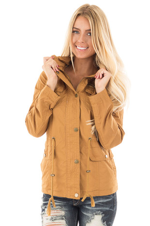 Camel Hooded Jacket with Zipper Detail and Front Pockets front close up