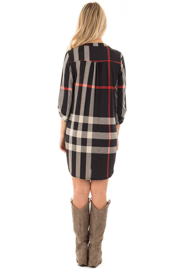 Black Plaid Tunic with Roll Up Sleeves back full body