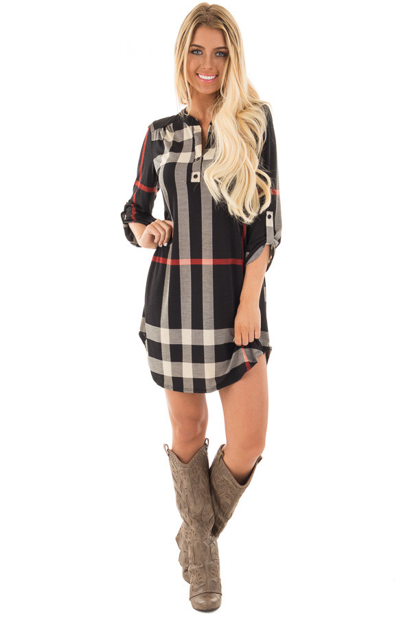 Black Plaid Tunic with Roll Up Sleeves front full body
