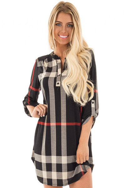 Black Plaid Tunic with Roll Up Sleeves front close up