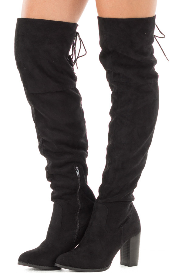 Black Faux Suede Knee High Boots with Tie Back Detail front side view