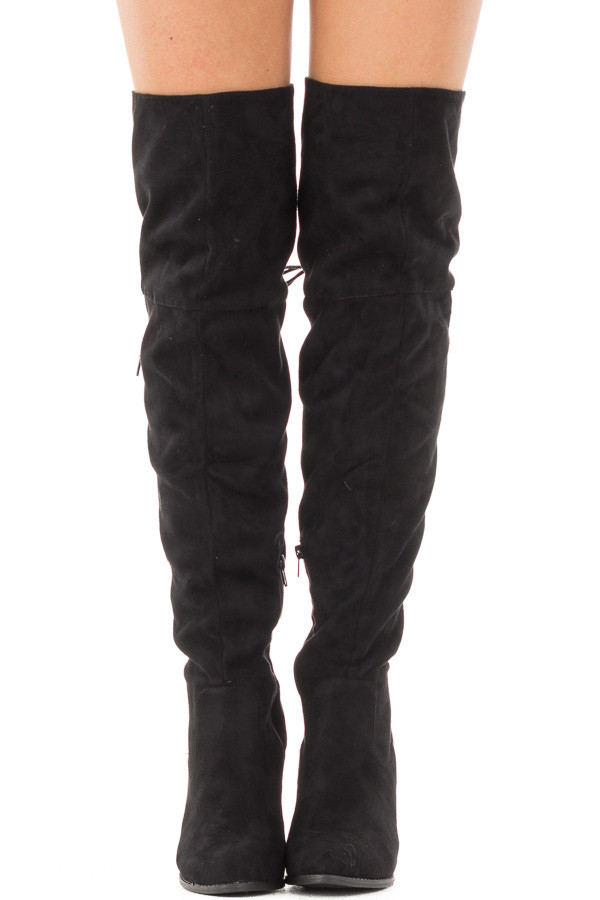 Black Faux Suede Knee High Boots with Tie Back Detail front view