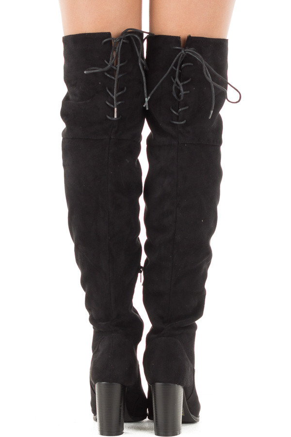 Black Faux Suede Knee High Boots with Tie Back Detail back view
