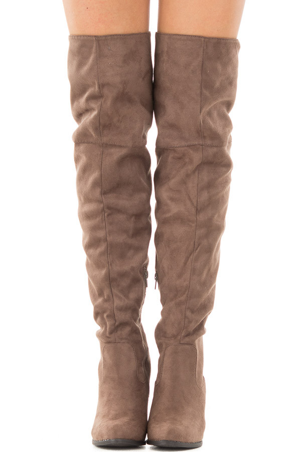 Tan Faux Suede Knee High Boots with Tie Back Detail for Sale ...