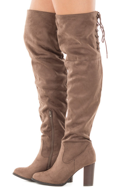 Tan Faux Suede Knee High Boots with Tie Back Detail side view