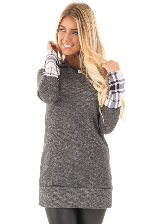 Charcoal Knit Hoodie with Plaid Accent Cuffs and Hood front close up