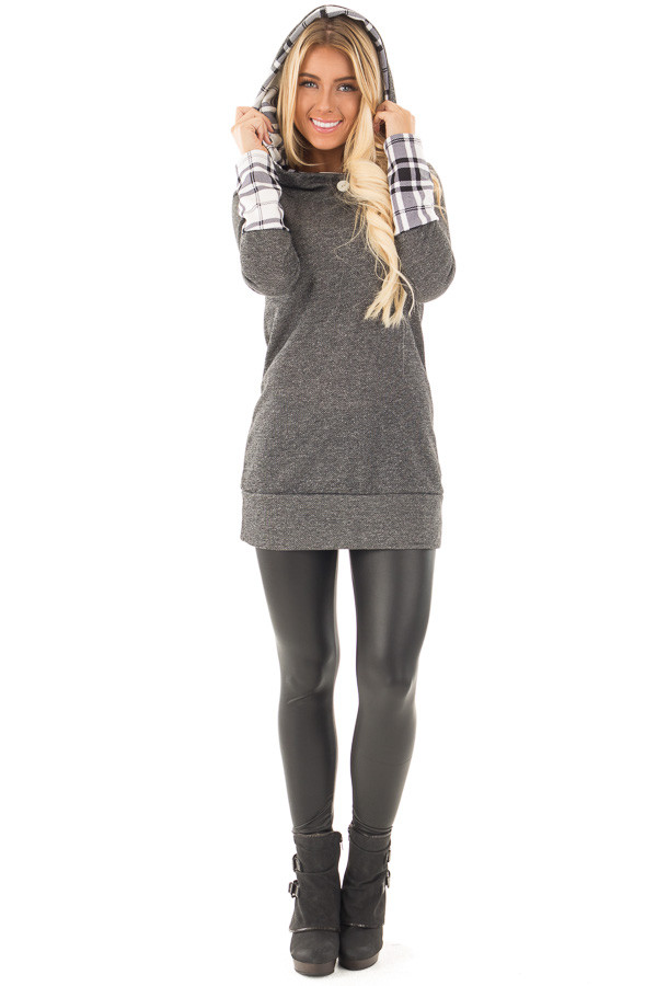 Charcoal Knit Hoodie with Plaid Accent Cuffs and Hood front full body