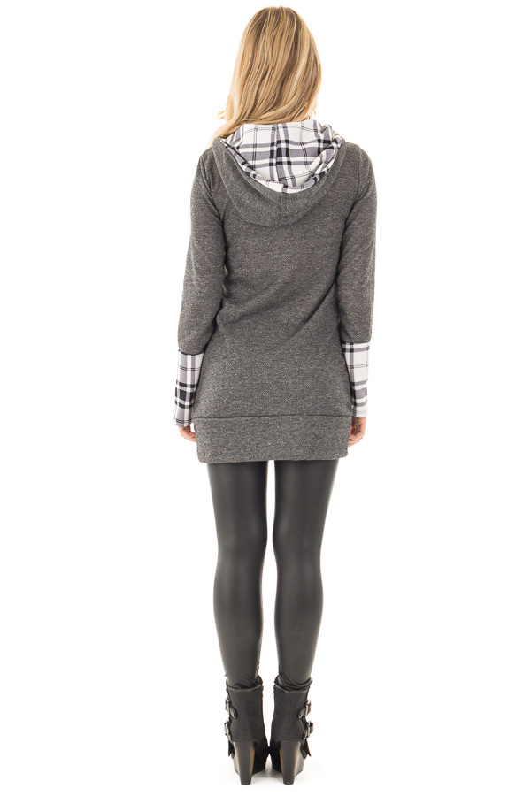 Charcoal Knit Hoodie with Plaid Accent Cuffs and Hood back full body