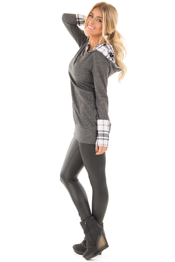 Charcoal Knit Hoodie with Plaid Accent Cuffs and Hood side full body