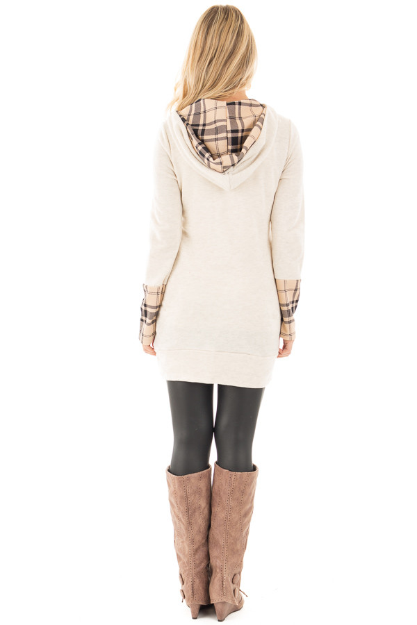 Oatmeal Knit Hoodie with Plaid Accent Cuffs and Hood back full body