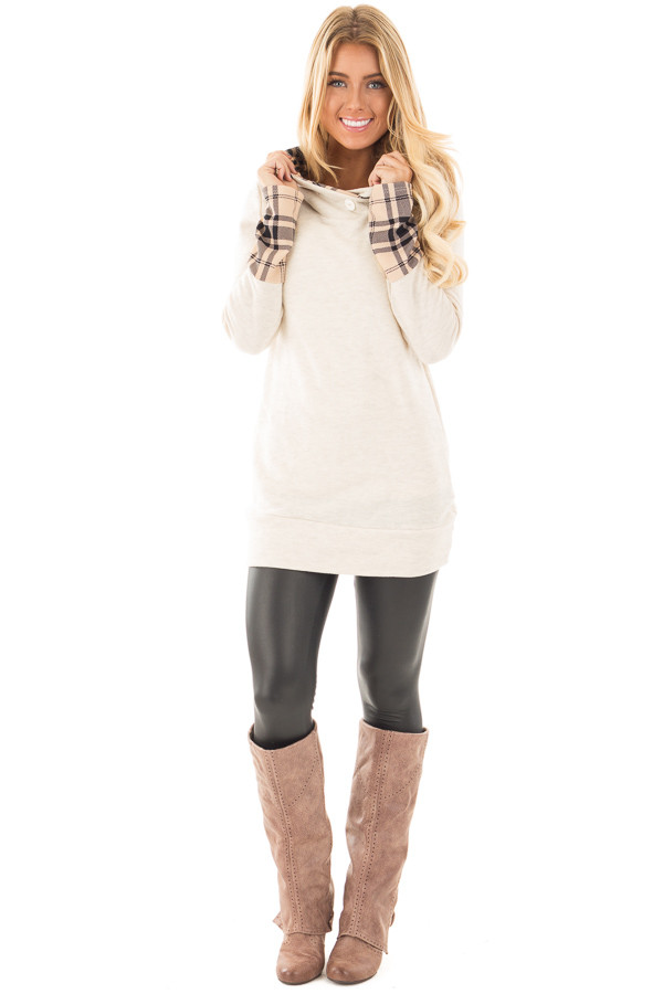 Oatmeal Knit Hoodie with Plaid Accent Cuffs and Hood front full body
