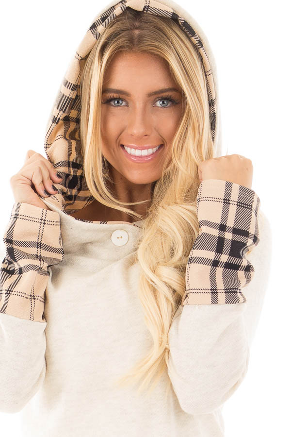 Oatmeal Knit Hoodie with Plaid Accent Cuffs and Hood detail