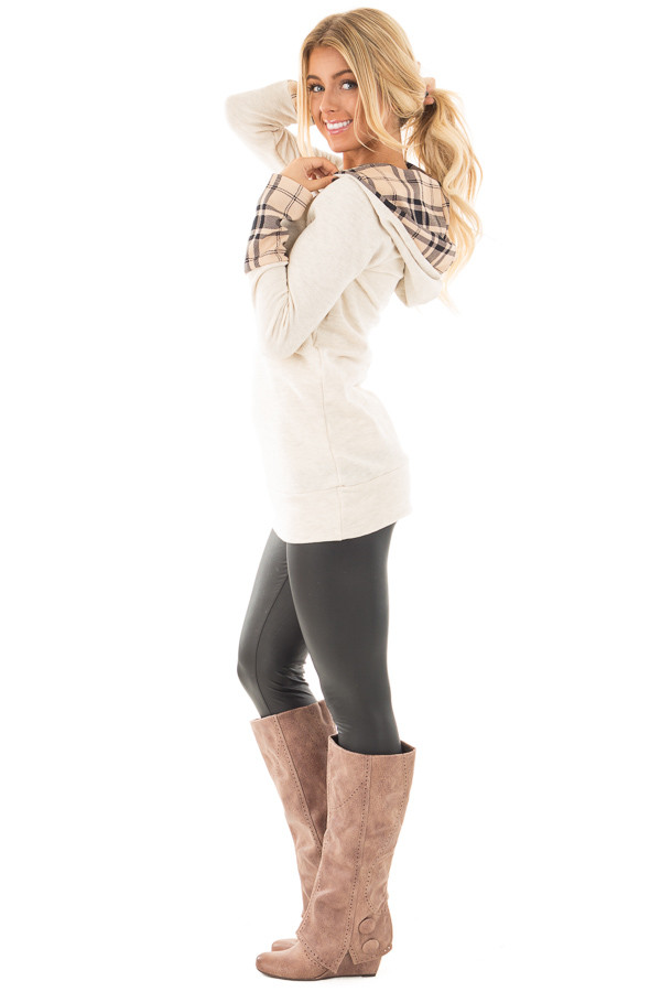 Oatmeal Knit Hoodie with Plaid Accent Cuffs and Hood side full body