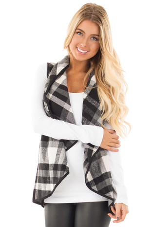 Black and White Plaid Vest with Pockets front close up
