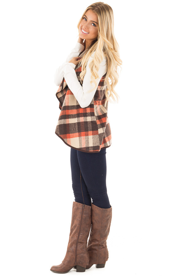 Chocolate and Orange Plaid Vest with Pockets side full body