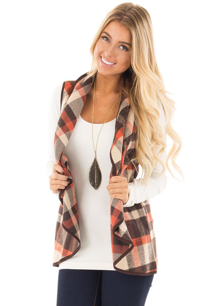 Chocolate and Orange Plaid Vest with Pockets front close up