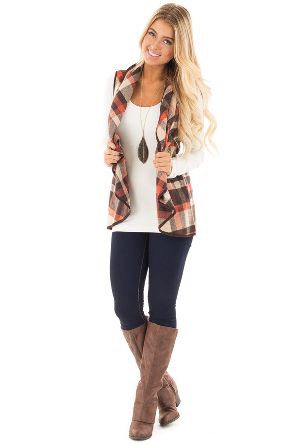 Chocolate and Orange Plaid Vest with Pockets front full body
