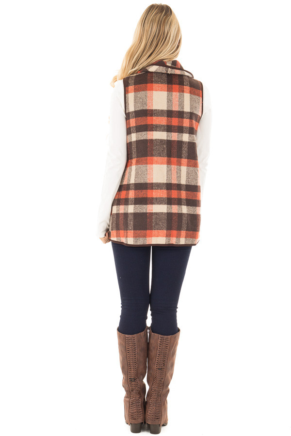 Chocolate and Orange Plaid Vest with Pockets back full body