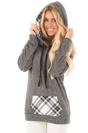 Charcoal Two Toned Hoodie with Cream and Black Plaid Accents front close up