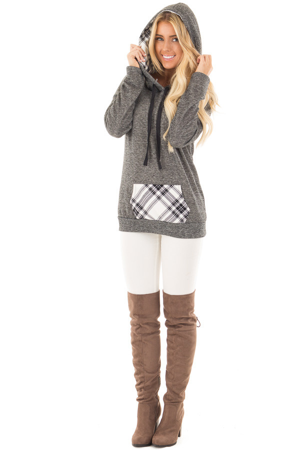 Charcoal Two Toned Hoodie with Cream and Black Plaid Accents front full body