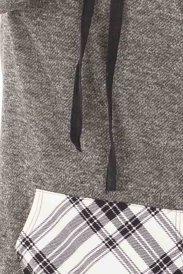 Charcoal Two Toned Hoodie with Cream and Black Plaid Accents detail