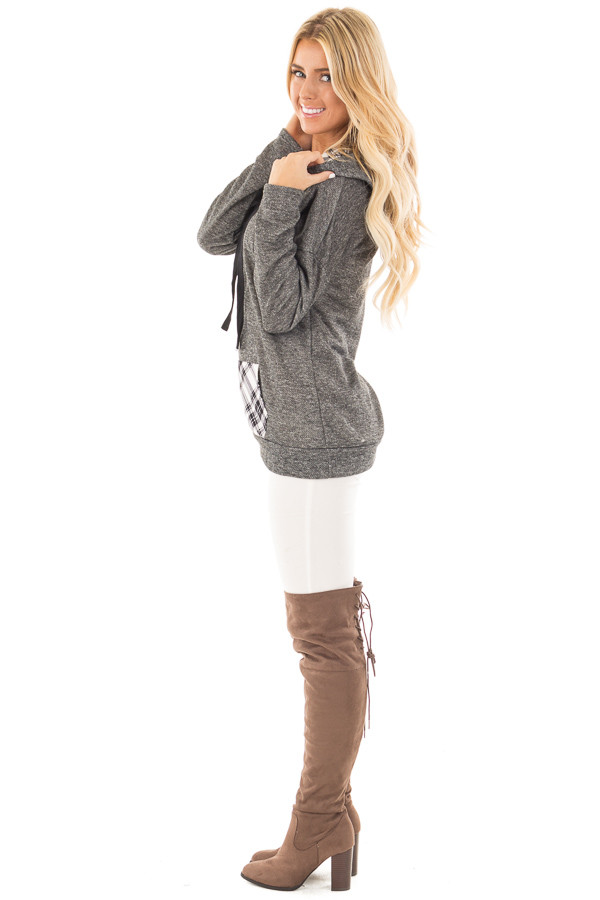 Charcoal Two Toned Hoodie with Cream and Black Plaid Accents side full body