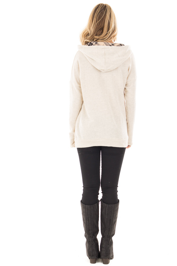 Oatmeal Two Toned Hoodie with Beige and Black Plaid Accents back full body
