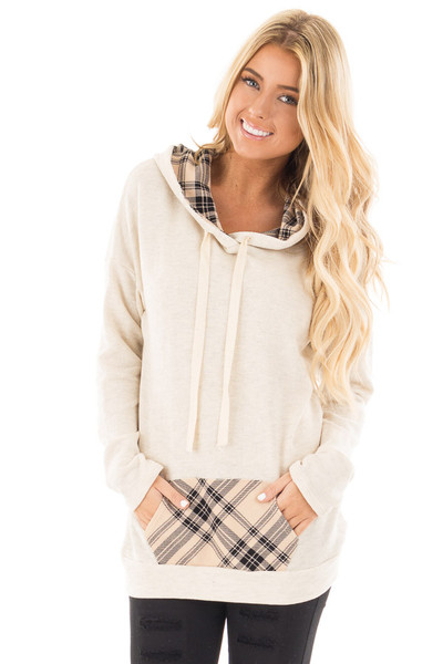 Oatmeal Two Toned Hoodie with Beige and Black Plaid Accents front close up