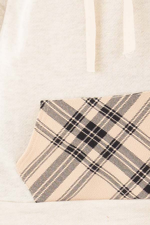 Oatmeal Two Toned Hoodie with Beige and Black Plaid Accents detail