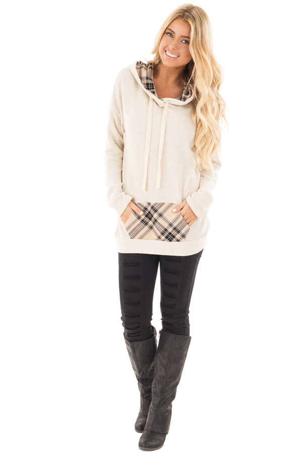 Oatmeal Two Toned Hoodie with Beige and Black Plaid Accents front full body
