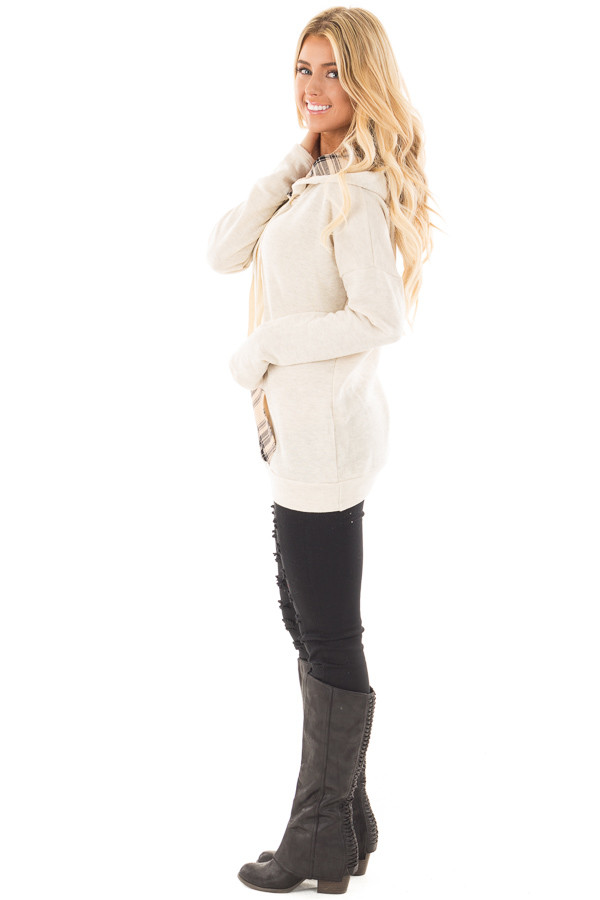 Oatmeal Two Toned Hoodie with Beige and Black Plaid Accents side full body