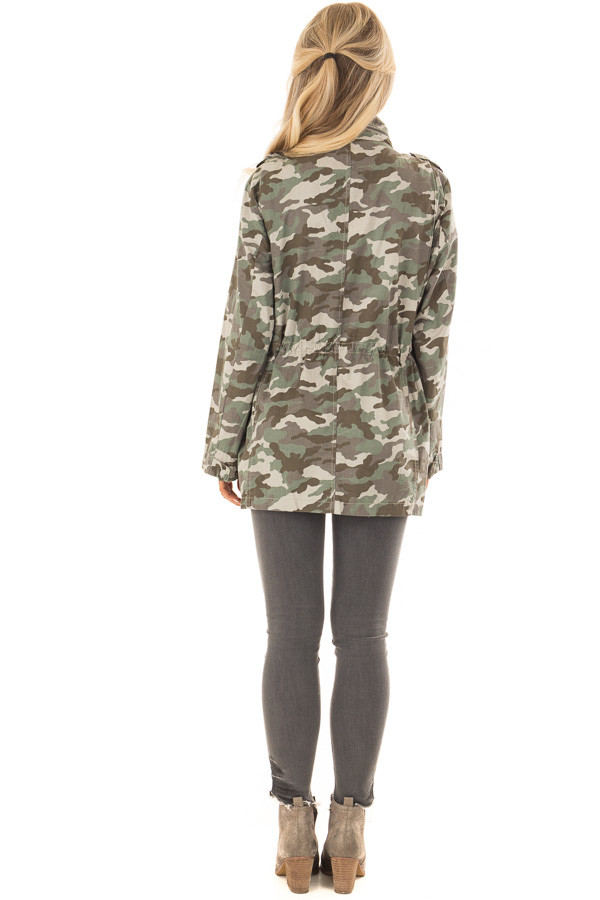 Camouflage Cargo Jacket with Zipper and Velcro Details back full body