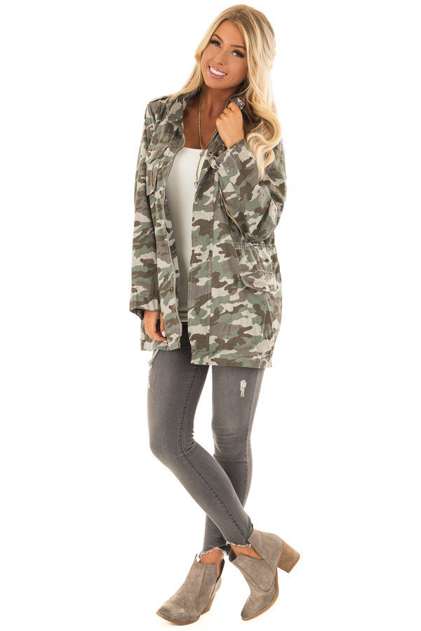 Camouflage Cargo Jacket with Zipper and Velcro Details front full body