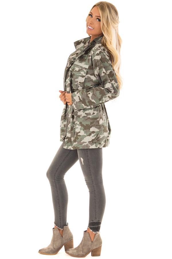 Camouflage Cargo Jacket with Zipper and Velcro Details side full body