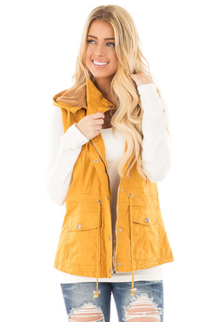 Mustard Hooded Vest with Faux Fur Lining front close up