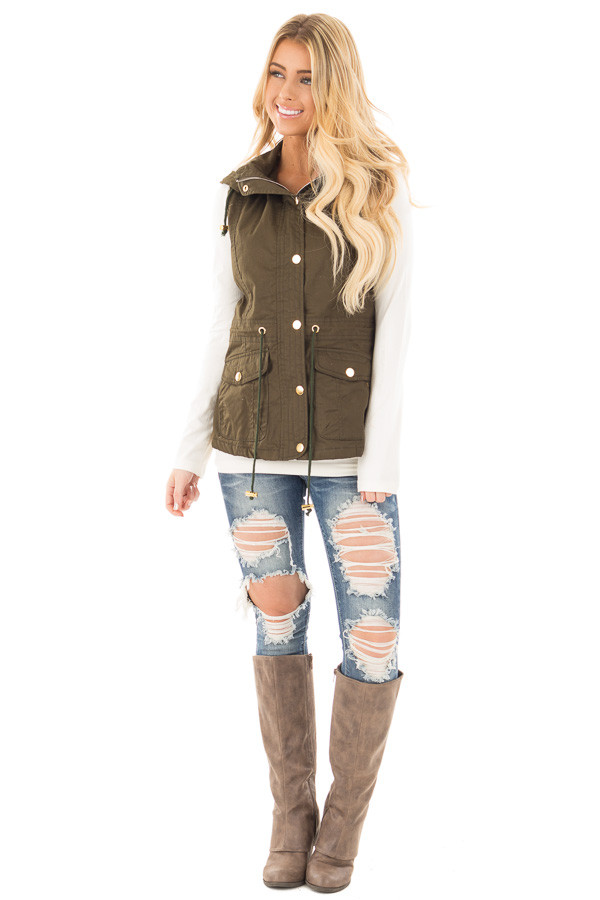 Forest Green Hooded Vest with Faux Fur Lining front full body