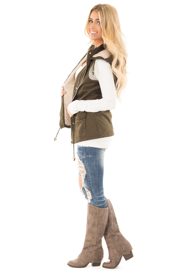 Forest Green Hooded Vest with Faux Fur Lining side full body